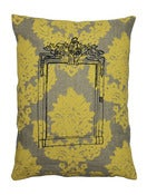 Image of Handmade cushion on natural linen – Mirror Design, yellow