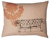 Image of Handmade cushion on natural linen  Pink Chesterfield Design