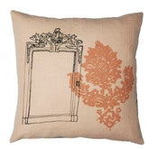 Image of Handmade cushion on natural linen  Pink Mirror Design 40cm
