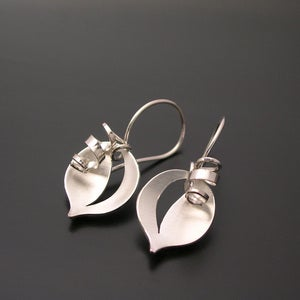 Image of Leaf and Tendril Earrings - All Silver