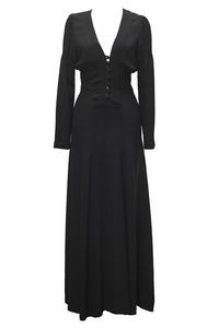 Archive Ossie Clark for Radley Black Crepe Maxi Dress :  black dress vintage shop vintage clothes lbd