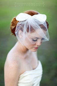 Image of Sugar Baby - Silk bridal bow paired with blusher veil
