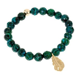 Image of Gilded Feather Malachite Bead Bracelet
