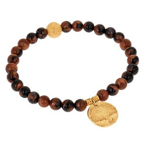 Image of Tree of Life Goldstone Bead Bracelet