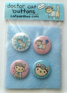 Doctor Cat Button Set