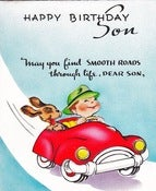 Image of Vintage Greeting Card - Happy Birthday Son  - 1940s