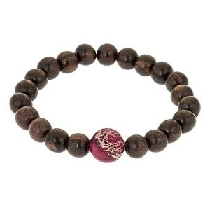 Image of Pink Jasper & Wood Bead Bracelet