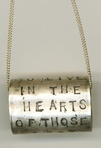 Image of Solid Sterling Silver Hammered Band Pendant-&quot;To Live...&quot; 