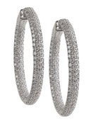 Image of Kara Ackerman <i>Talulah <i/> Medium Vermeil Micro Pave Set Hoops in Rhodium