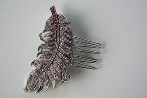Image of Vintage pink rhinestone bridal hair comb : piece 012