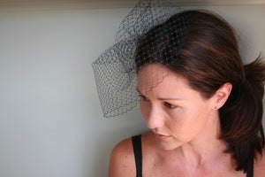 Image of Navy french netting birdcage veil