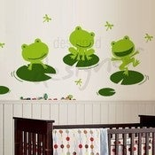 Image of Happy Frogs on Lily Pad with Dragonflies - dd1030 - Vinyl Wall Decal Sticker Art