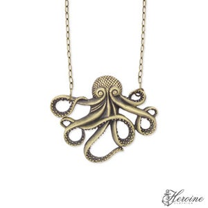 Image of Octopus Take Over Antiqued Gold Necklace