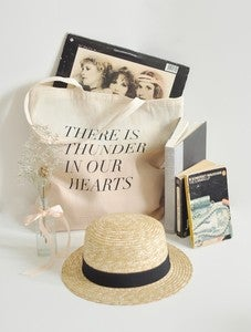 Image of thunder in our hearts tote, blush dip dye