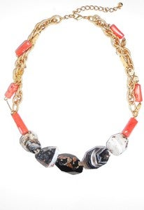 Image of Pink Coral and Black Agate Necklace