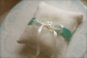 Image of Burlap ring pillow with velvet ribbon and silk tulle accent