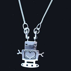 Image of Sterling Silver Robot Necklace