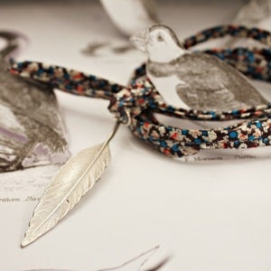 Image of silver quill with Liberty print tie necklace