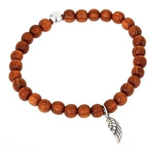 Image of Angel Wing & Bayong Wood Bead Bracelet