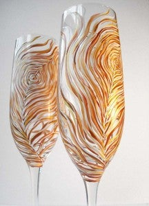 Image of Albino Peacock Wedding Champagne Toasting Flutes-Set of 2