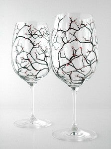 Image of Spring Cherry Blossom Wine Glasses-Set of 2