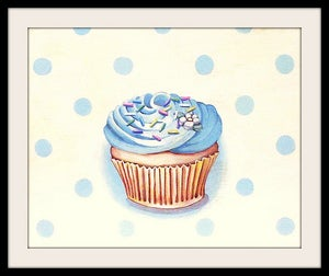 Image of classic buttercream frosted cupcake blue mini print