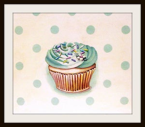 Image of classic buttercream frosted cupcake green mini print