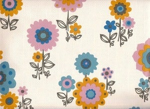 Image of Vintage 70s Blue Scandi Style Flower Wallpaper, price is per Metre