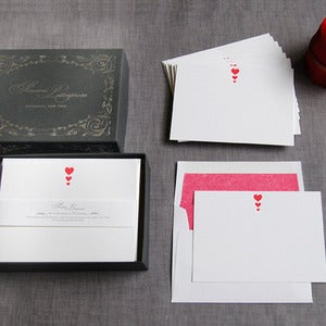 Image of Letterpress Hearts Deluxe Stationery Set