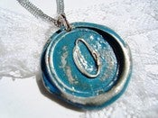 Image of Aqua Wax Seal Pendant Necklace By Ritzy Misfit