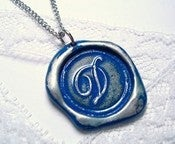 Image of Royal Blue Wax Seal Pendant Necklace by Ritzy Misfit