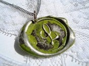 Image of Chartreusey Lime Wax Seal Pendant Necklace by Ritzy Misfit
