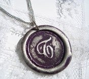 Image of Plum Purple Wax Seal Pendant Necklace By Ritzy Misfit