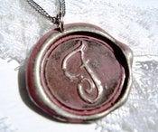 Image of Dusty Rose Wax Seal Pendant Necklace