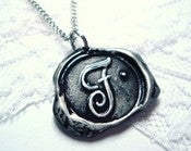 Image of Black Painted Wax Seal Pendant Necklace By Ritzy Misfit