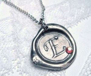 Image of Mini Wax Seal Pendant with Crystal Embellishment
