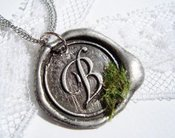 Image of Classic Wax Seal Pendant with Faux Moss Embellishment