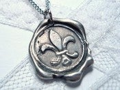 Image of Fleur de Lis Wax Seal Pendant Necklace By Ritzy Misfit