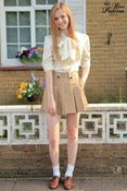 Image of Miss Patina British Style Skirt-Like Shorts (camel)