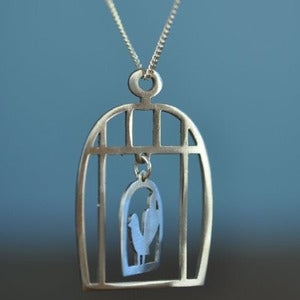 Image of Moving Bird Cage Necklace