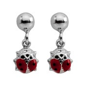 Image of Ladybeetle Drop Stud Earrings