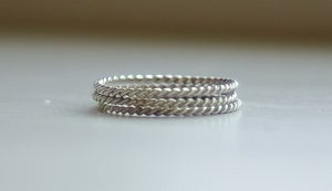 Image of Skinny Thin Tiny Stackable Twisted Sterling Silver Rings- Made to order in your size