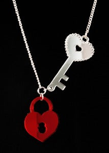 Image of Lock & Key Necklace - Red