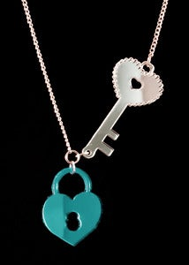 Image of Lock & Key Necklace - Teal