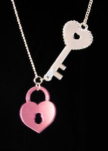 Image of Lock & Key Necklace - Pink