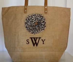 Image of Natural Jute Bag with Leopord Print Posie