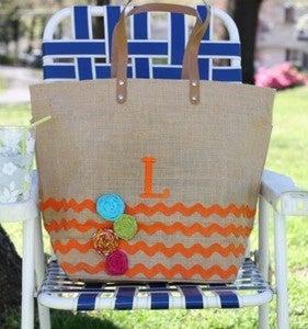 Image of Summer Family Bag with chevron border, rosettes and monogram in orange