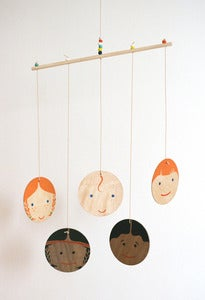 Image of Hand-painted Lil' Edie Multi-Cultural Family Wooden Mobile