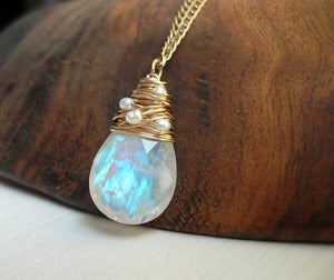Image of AA Grade Moonstone Necklace woven with pearls