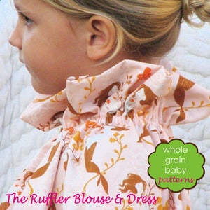 Image of The Ruffler Dress and Blouse sewing pattern~ for girls